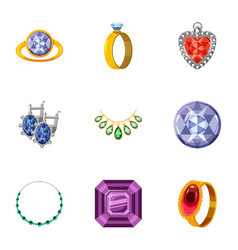 Imitation jewelry icons set cartoon style vector