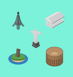 Isometric travel set of athens paris coliseum vector