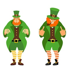 Leprechaun bad and good Angry leprechaun with vector image vector image