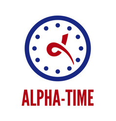 letter alpha and clock vector image vector image