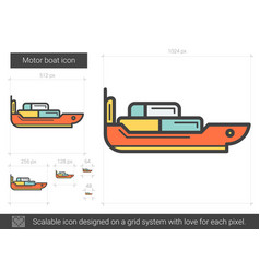 Motor boat line icon vector