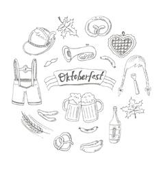 October fest doodle set Vintage vector image vector image