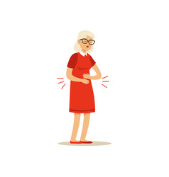 Old female character bad joints arthritis vector
