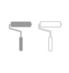 paint roller grey set icon vector image