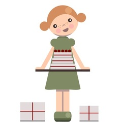 Peg doll with birthday cake vector