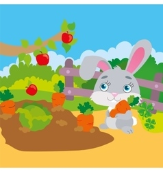 Rabbit gnawing carrot in garden vector