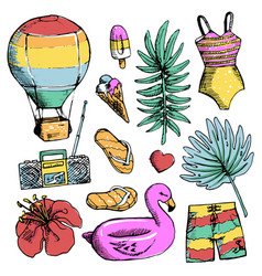 set of bright summer doodle sticker hand draw vector image vector image