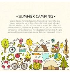Set of hand drawn camping equipment symbols vector