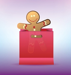 Shopping bag with cookie man for winter sales vector