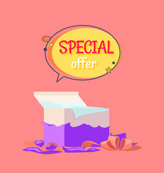 Special offer poster with open gift box wrapping vector