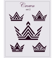 Stylized drawings of crowns a set icons on vector image