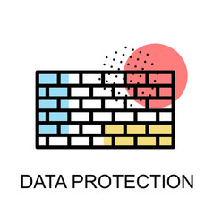 Wall icon for data protection on white background vector