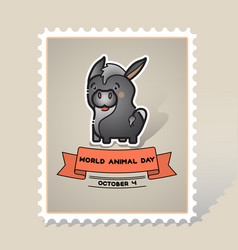World animal day card with a cute donkey vector
