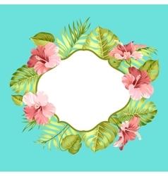 Tropical flower frame vector