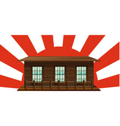 wooden house with sun in background vector image