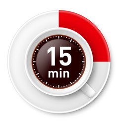 Cup of coffee with time limit for break fiiteen vector