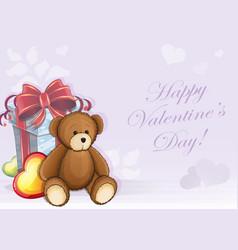 Valentine card with teddy bear vector