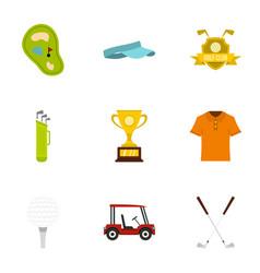 championship golf icons set flat style vector image