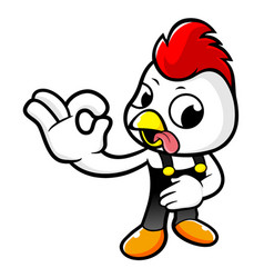 Happy chicken character is ok a gesture playing vector