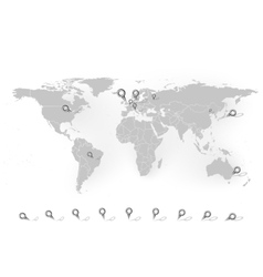 World map with stationery nails background vector