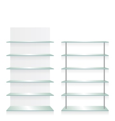 Empty shop glass shelves vector
