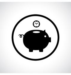 Piggy bank icon with a clock falling in vector