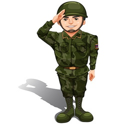 A smiling soldier doing a hand salute vector