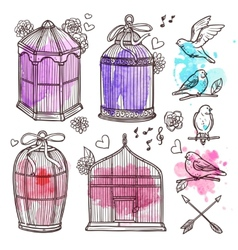 Cages and birds set vector