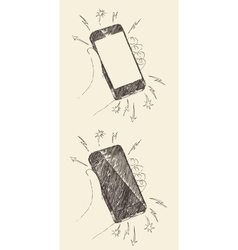 Hand drawn black mobile phone iphone sketch vector