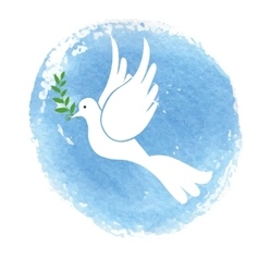 Peace day symbolwhite pigeonwatercolor blue sky vector