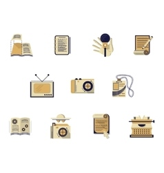 Flat color icons for media publishing vector