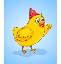 Little chick wearing a party hat vector