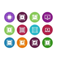 Cpu central processor unit circle icons on white vector