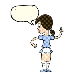 Cartoon waitress calling order with speech bubble vector