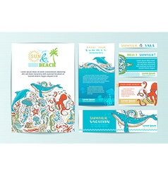 Set of corporate wild sealife templates vector