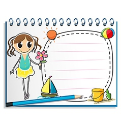 A notebook with a drawing of a young girl holding vector