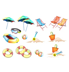 Beach Items for Summertime vector image vector image