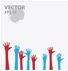 blue and red hands vector image vector image