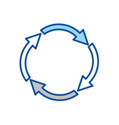 Blue contour of arrows circular shape reload vector