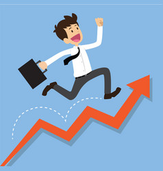 Businessman running on a growing graph vector