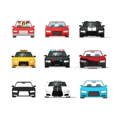 Cars icons set auto collection front view vector