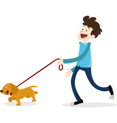 Cartoon style man walking with dog dachshund vector