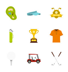 championship golf icons set flat style vector image vector image