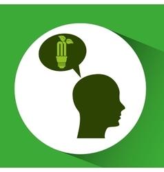 Concept environment bulb plant silhouette head vector