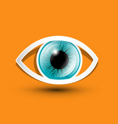 eye symbol on orange background vector image