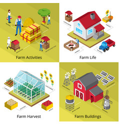 farm concept 4 isometric icons square vector image vector image