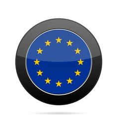 Flag of european union shiny black round button vector