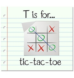 Flashcard letter T is for tic tac toe vector image vector image