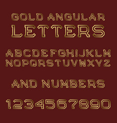 gold angular letters and numbers fashion retro vector image