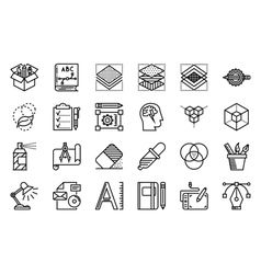 Graphic design thin line icons set vector